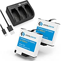 CoolShow Replacement Battery (2-Pack) for Gopro Hero 5 Black with 3-Channel Battery Charger (USB-C Charging Supported),Compatible with Firmware v02.51,v02.00, v01.57 and v01.55