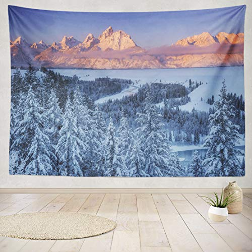 - ASOCO Tapestry Wall Hanging Winter Sun Snake River National Park Winter Mountains Snow Adventure Trees Wall Tapestry for Bedroom Living Room Tablecloth Dorm 80