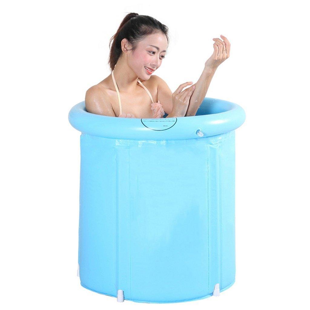 JAD@ Adult Folding Tub Thickening Inflatable Bathtub Child Bath Barrel Plastic Bathtub (Size : 6570cm)