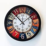 MCC Retro Nostalgic Wall Clock Creative Fashion Individuality Arabian Roman Digital Inserted Rivet Mute Clock , black