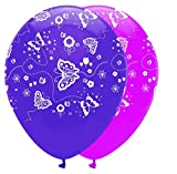 1x Pack of 6 Butterflies Pink & Purple Mix Latex Balloons with an all round print.