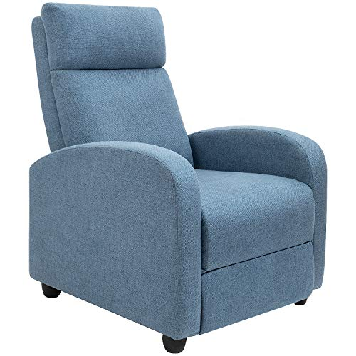 Fabric Recliner Chair Ergonomic Adjustable Single Sofa with Thicker Seat Cushion Modern Home Theater Seating for Living Room (Blue)
