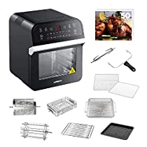 GoWISE USA 12.7-Quart 15-in-1 Electric Air Fryer Oven w/Rotisserie and Dehydrator + 50 Recipes for your Air Fryer Oven Book (Black)