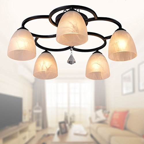 5-Light Black Wrought Iron Chandelier with Glass Shades (A-820-5)