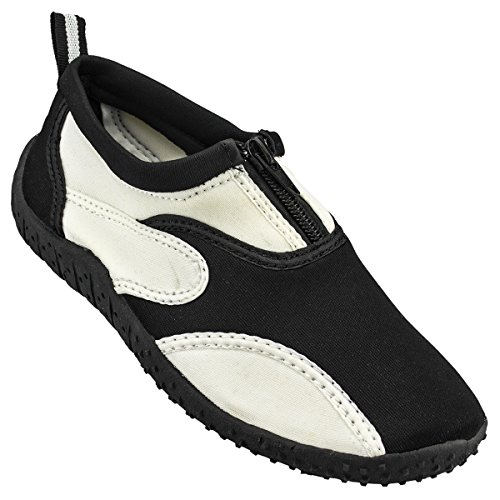 Cambridge Select Bambini Slip-on Quick Dry Mesh Zipper Scarpetta Antiscivolo (bimbo) Nero / Bianco