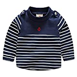 SPRMAG Kids Boy Long Sleeve Stripe T-Shirt Tops Turtleneck Undershirt 3T Navy
