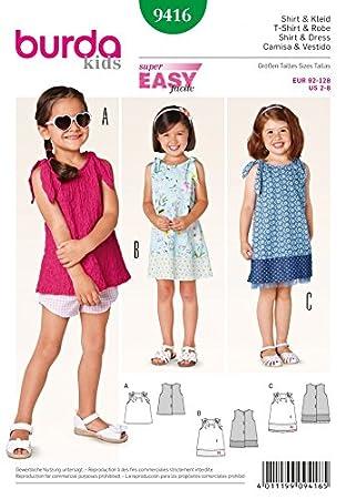 Burda Kinder Schnittmuster 9416 – Tops und Kleider mit Schulter ...