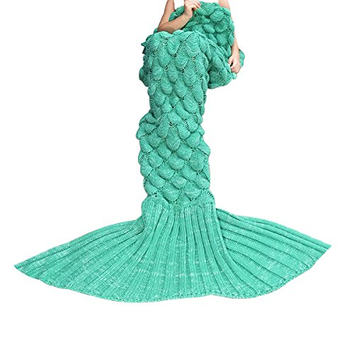 [Knitted Mermaid Tail Blanket Crochet Knit Mermaid Blankets for Adults - All Season Soft Warm Throws and Blankets- Ariel Inspired Sleeping Bags for Kids Teens Women's Day Gift - Sacle Bright] (Ariel Tail Costumes)