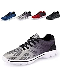 Men's Lightweight Breathable Running Tennis Sneakers Casual Walking Shoes (US 12, Grey)