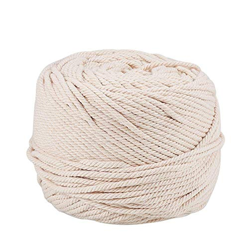Ialwiyo Handmade Decorations Natural Cotton Bohemia Macrame DIY Wall Hanging Plant Hanger Craft Making Knitting Cord Rope Natural Color Beige (4mm x 100m(about 109 yd)) -