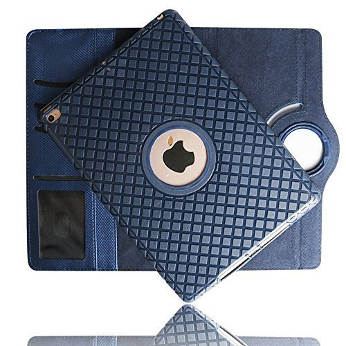 iPad Mini 2 Case, YiMiky Premium PU Leather TPU Flip Case Smart Folio Stand with Card Slots 360 Degree Rotating Detachable Case for iPad Mini, iPad Mini 2, iPad Mini 3(Light Blue)