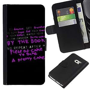 Samsung Galaxy S6 EDGE SM-G925 , la tarjeta de Crédito Slots PU Funda de cuero Monedero caso cubierta de piel ( Cake Healthy Positive Attitude Quote Success)