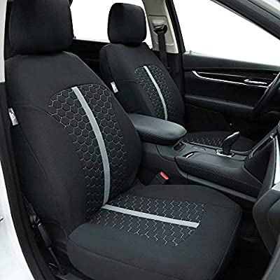 Big Ant Car Seat Covers, Unique Flat Cloth Fabric Seat Covers Breathable Full Set Front Back Cover with 5 Detachable Headrests - Fit Most Car, Truck, SUV, or Van: Automotive