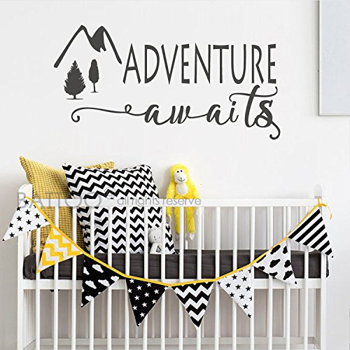 BATTOO Adventure Awaits Wall Decal Stickers - Adventure Quotes Travel Theme Wall Decor - Wanderlust Wall Decal - Mountain Wall Decal Bedroom Decor(Black, 50