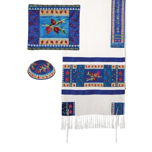 Embroidered Raw Silk Tallit Set Pomegranates Design in Multicolor