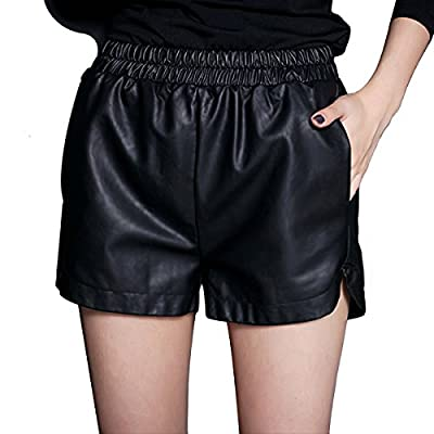 YMING Women's PU Faux Leather Elastic Waist Loose Shorts Or Skirt