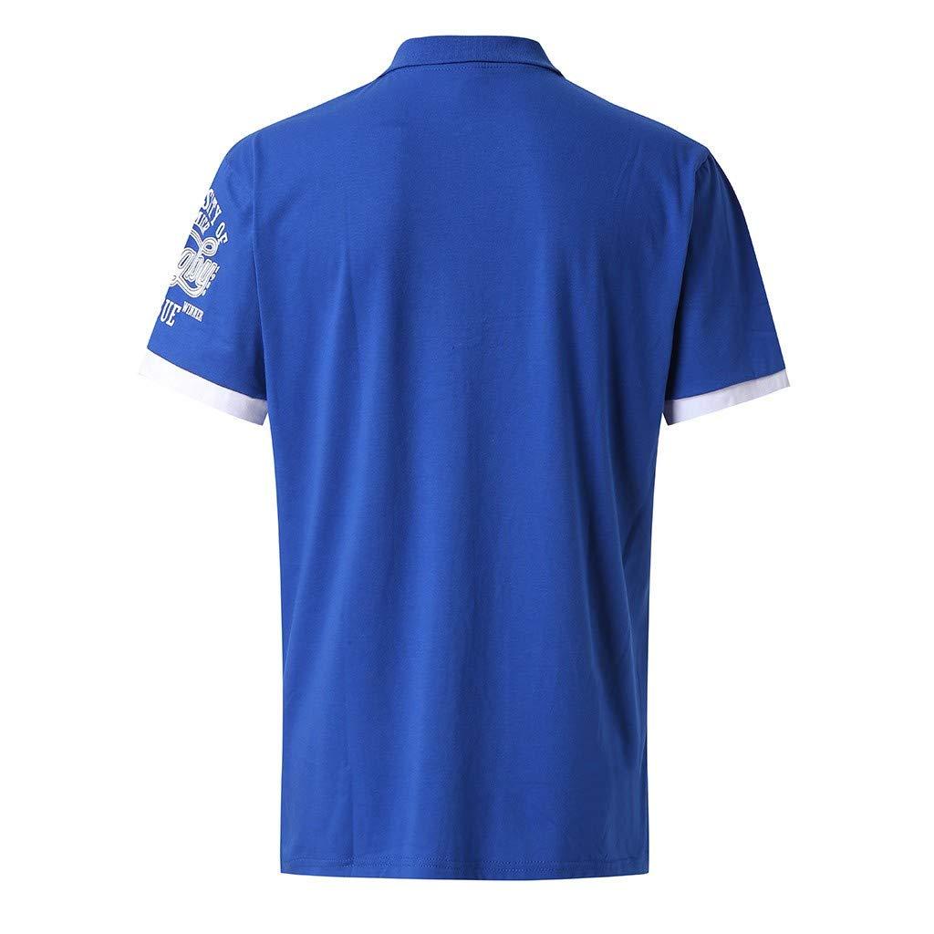 iSovze Fashion Mens Summer Print Casual Comfort Lapel Short Sleeve Shirt Tops