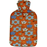 Hot Water Bottle with Soft Fleece Cover - Orange Floral Design By Payless Trading?? by Payless