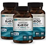 Neptune Krill Oil 1000mg High Absorption Omega-3 EPA DHA & Astaxanthin. Pure and Sustainable. Clinically Shown to Supports Healthy Heart, Brain and Joints (3-Pack, 90 Total Servings)