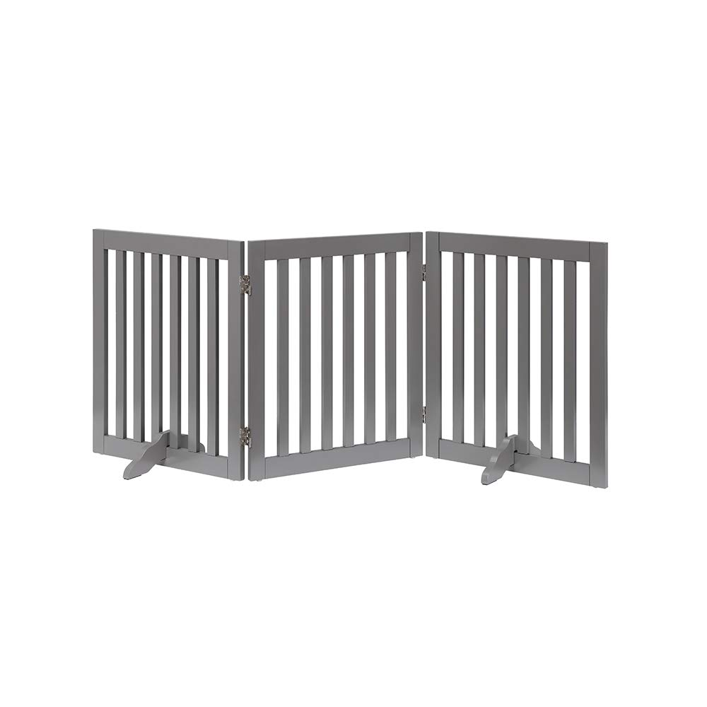 unipaws Freestanding Wooden Dog Gate, Foldable Pet Gate with 2Pcs Support Feet Dog Barrier Indoor Pet Gate Panels for Stairs, Gray (3 Panels, 20 inches Wide, 24 inches High)