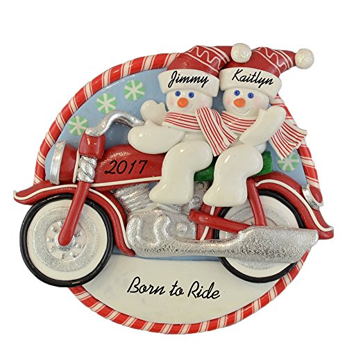 Calliope Designs Personalized Couple Riding Motorcycle - Born to Ride Christmas Ornament