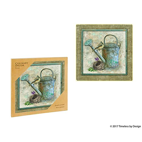 Ceramic Trivet for Culinary Decor- BIRDS IN GRDN WATERING CAN TRIVET, Decorative Multicolor Printed Trivet+Cork Backing,Non Slip, Scratch-Heat Resistant, Square Trivet- 7.5