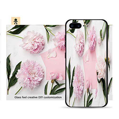 (iPhone 7p / 8p Ultra-Thin Phone case Pink Peony Flowers Envelope and Paper Card on White Stone Table top View in Flat Lay Style Resistance to Falling, Non-Slip, Soft, Convenient Protective case)