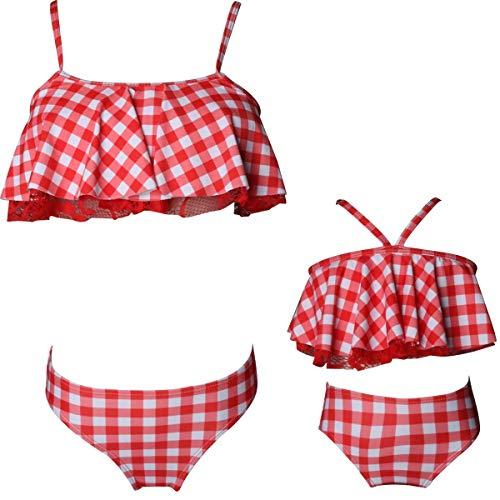KABETY Girls Swimsuit Two Pieces Bikini Set Ruffle Falbala Swimwear Bathing Suits (Red Check, 4-5 Years)