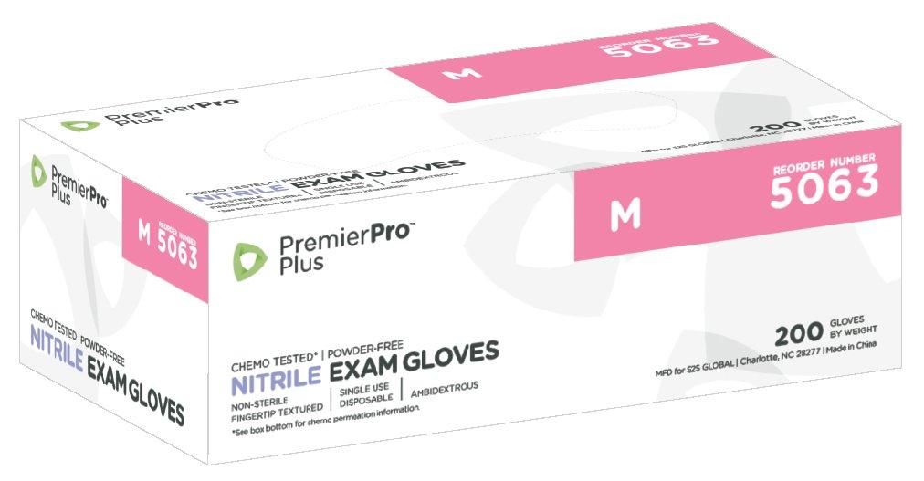 Medium Premier Pro 5063 Plus Nitrile Exam Gloves Periwinkle 200 per box