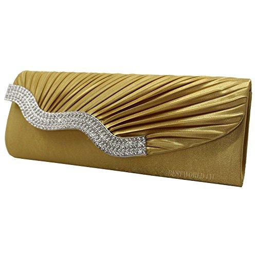Gold Party Evening Wedding Wocharm Diamante Bag Ladies Womens Crystal Prom Clutch Satin Handbag 5qwxr7wZ