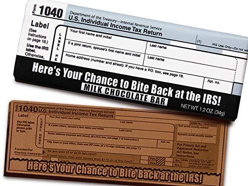 - Chocolate Chocolate 313527 Milk chocolate - Bite Back at the IRS 104044; 2011 Chocolate Bar.
