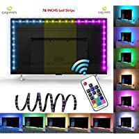 Exgreem Neon Accent(78.7/ 2M)LED Strips Bias Backlight RGB Lights with RF Remote Control for HDTV, Flat Screen TV Accessories and Desktop PC, Multi Color (78 inches)