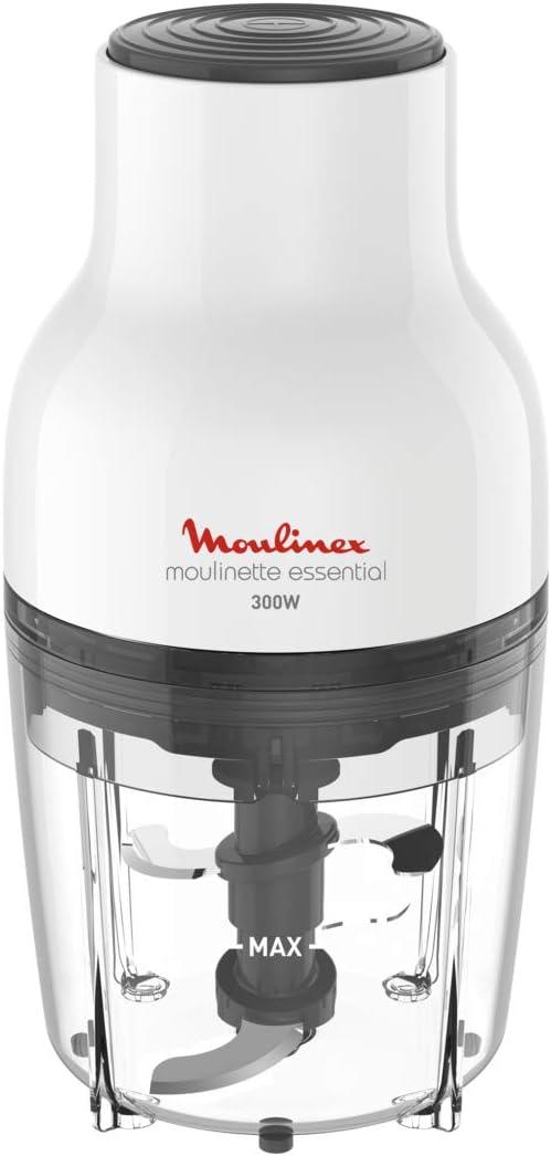 Moulinex Moulinette Essential DJ5201 - Picadora 3 en 1 pica, mezcla y trocea, sistema tapa de presión 300 W, capacidad 0.4 L, para picar todo tipo de ingredientes con 4 cuchilla con tapa removibles