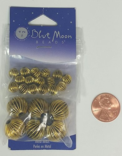 Blue Moon Beads Brand Antique Brass Antique Gold Metal Beads Assorted Sizes (Six 1/2