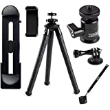 iPhone iPad Tripod - Rugged Edition - With XL Phone Mount | Ball Head | Bluetooth Remote