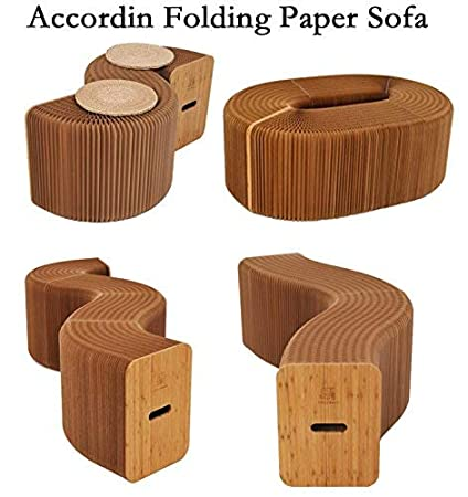 AlienTech Home Furniture Softeating Modern Design Accordin Folding Paper Stool  Sofa Chair Kraft Paper Relaxing Foot