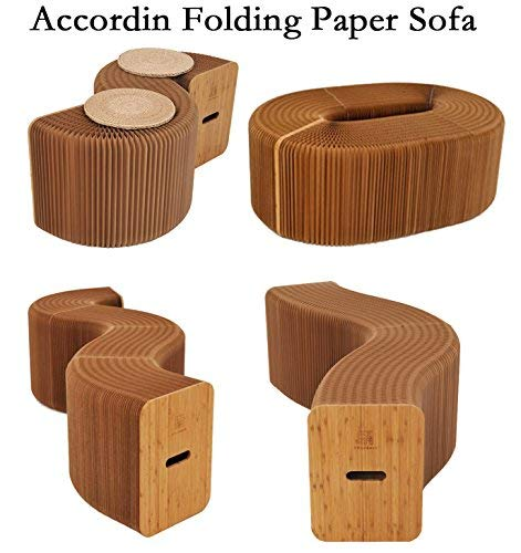 AlienTech Home Furniture Softeating Modern Design Accordin Folding Paper Stool Sofa Chair Kraft Paper Relaxing Foot Stool-Fashion Paper Design, Ideal School, Kitchen,Living & Dining Room (Folding Furniture)