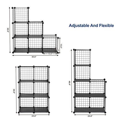 songmics 6 cube metal wire storage organizer diy closet cabinet and modular shelving grids. Black Bedroom Furniture Sets. Home Design Ideas