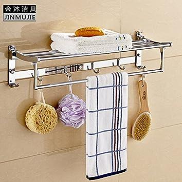 SDKKY Los cuartos de baño son estanterías colgantes acero inoxidable toallas de baño toallas de baño WC Ganchos colgador kit , 5 Kim 60cm: Amazon.es: Hogar