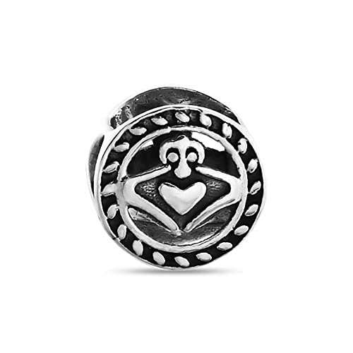91c9122ed Image Unavailable. Image not available for. Color: Celtic Knot Claddagh  Irish Friendship Round Circle Charm Bead ...