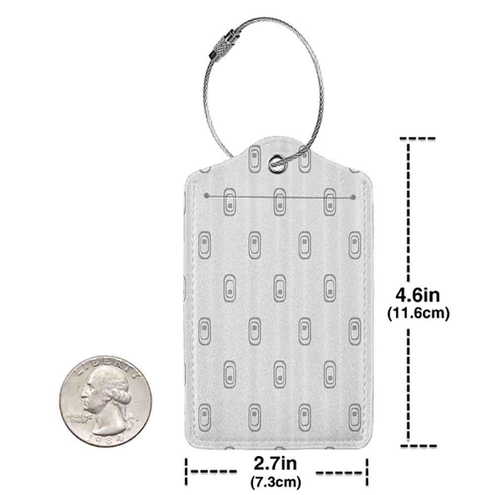 Flexible luggage tag Grey Decor Trippy Geometric Figures with Inner Stripes Styled Internal Equal Tiling Artwork Fashion match White W2.7 x L4.6