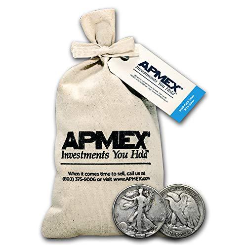 1916-1947 90% Silver Walking Liberty Half Dollars $100 Face-Value Bag Half Dollar Very Good