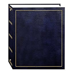 Magnetic Self-Stick 3-Ring Photo Album 100 Pages (50 Sheets), Navy Blue
