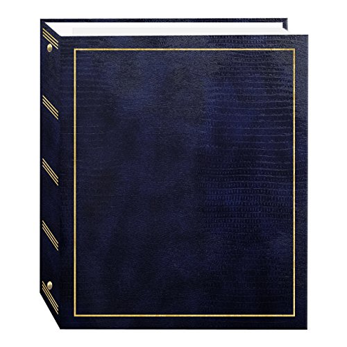 This leatherette cover photo album features gold stamping and Fast-Stick magnetic pages with a clear plastic overlay that self-adheres to the page, securely holding photos. The album's 8.25 x 10.5 inch pages hold many size photos including 2.5 x 3.5 ...