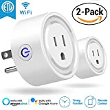 Snowpink Wi-Fi Smart Plugs, [2-PACK] ETL Listed Wifi enabled Remote Control Smart Sockets, Timing Function, Work with Alexa Echo & Google Home, 10A Mini Outlet (No Hub Required) - R102