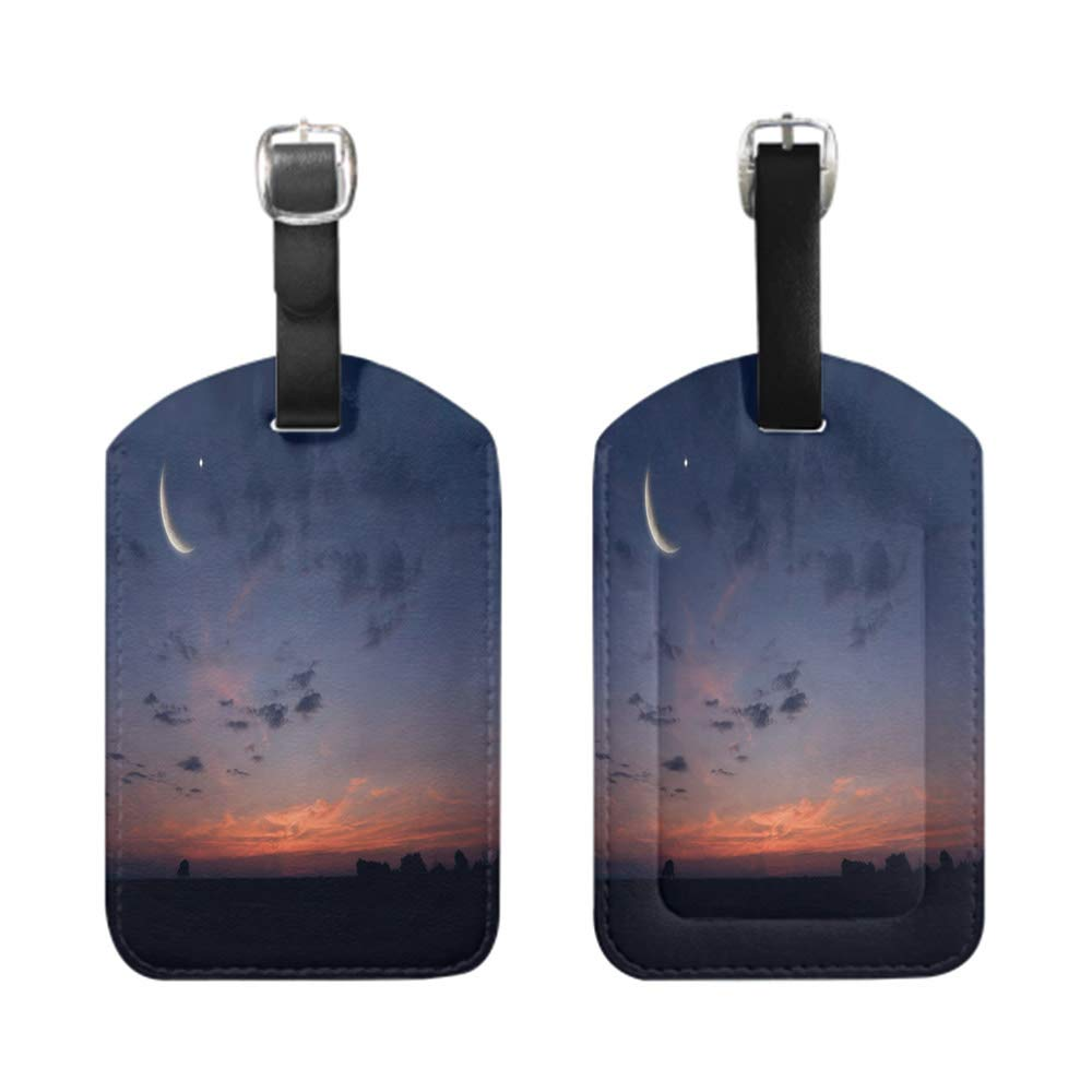 bescribe Stylish Patterned Private Luggage Tag leather name ID tag with privacy cover Night shot of mountains and sea-2-Piece