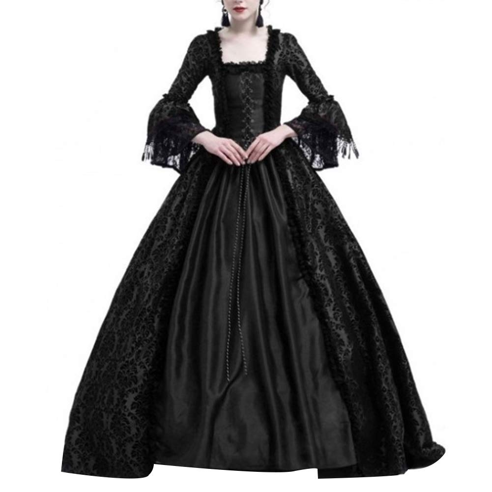 dwqPA#Pi Medieval Renaissance Queen Ball Gown Vintage Women Bell Sleeve Maxi Dress Halloween Costume (XXXL, Black) by dwqPA#Pi