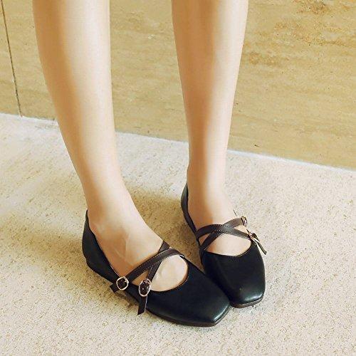 Mee Shoes Damen flach Schnalle vierkant Pumps Schwarz