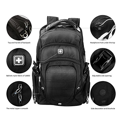 Suissewin big business travel outdoor mountain climbing computer backpack(SW9275I) (Black) by Swisswin (Image #5)