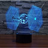 Decorative Lights for Bedroom,Decorative Lights Christmas,Christmas Gifts Star Wars Trek Tie Fighter Veilleuse Black Knight Atmosphere 3D Lamp Boys Bedroom LED RGB Illusion Night Lights(Touch)
